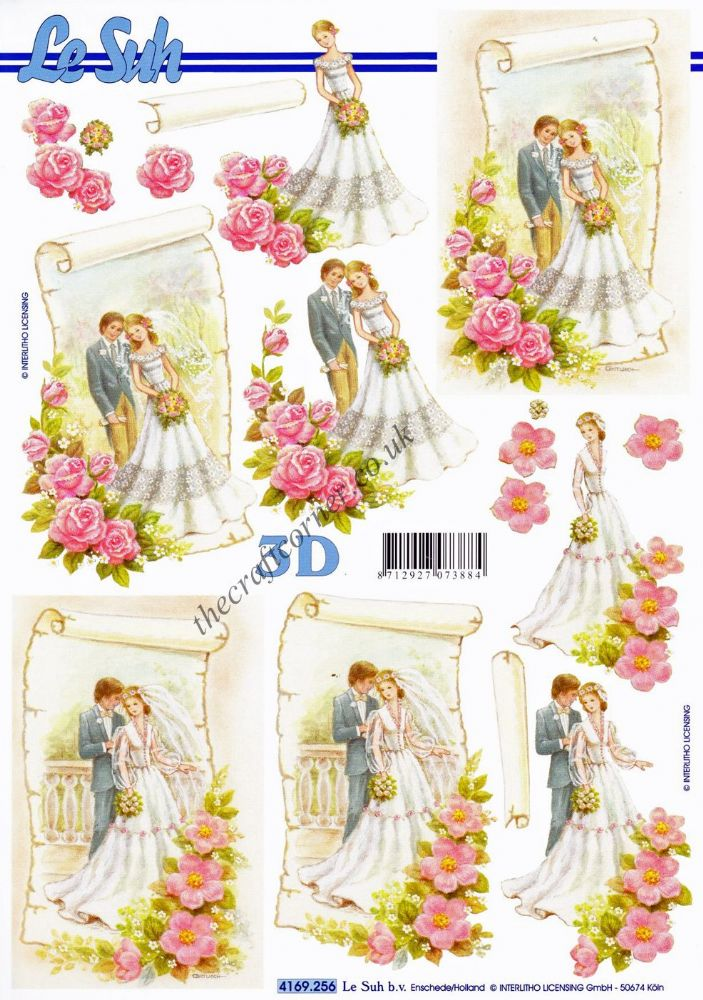 Bride Amp Groom With Flowers 3d Decoupage Sheet